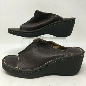 Born Womens Slip On Mules Wedge Leather Weave Comf